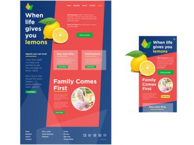 Life Insurance lemon landing page concept ux landing page life insurance mobile desktop design ui landingpage
