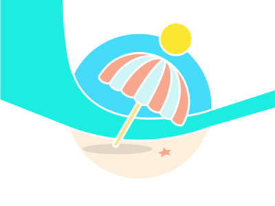 Summer Badge badge umbrella beach summer illustration