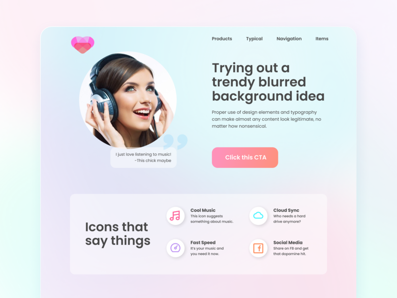 Music Product whatever icons user interface landing page bokeh music app pastels