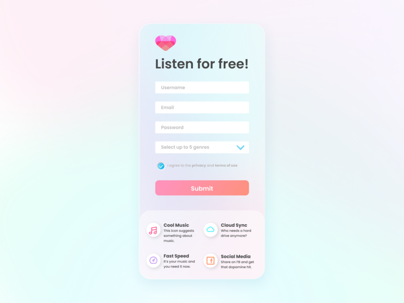 Music Product Sign Up mobile signup product design product pastel music login form