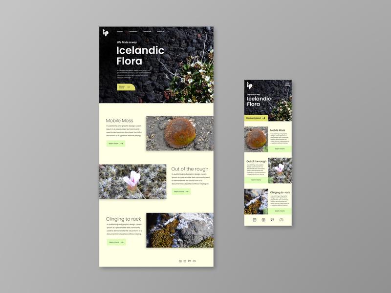 Icelandic Botanical Tourism Site figma mobile desktop website rock ux ui plants photos photography landing page iceland
