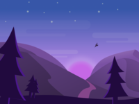Sunset Landscape graphic design blue purple bird stars trees dusk night landscape sunset illustration