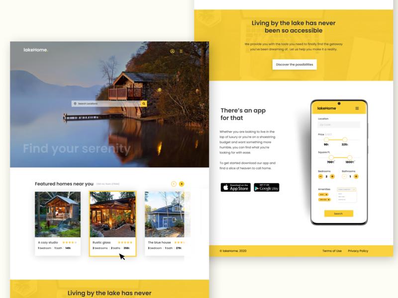 Lake Real Estate ui mobile app website mobile desktop real estate lake
