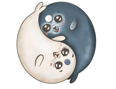 Yin yang seal photoshop children book illustration childrens illustration digital illustration digitalart branding design illustration