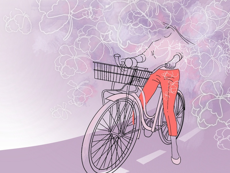 Through drawing road bicycle flowers summer girl illustration