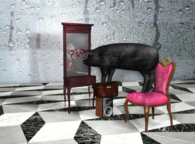 Smart Zoo jaguar zoo pig camel mirror 3d illustration