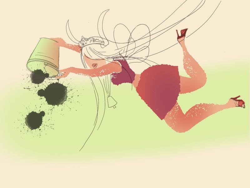 Unfinished business bucket girl design summer drawing illustration