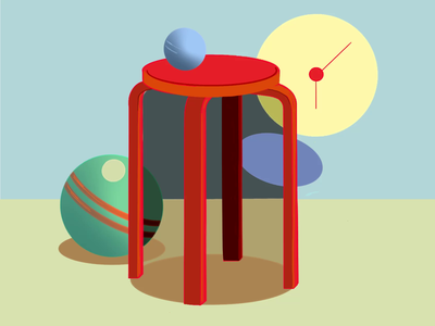 Between six and seven ball design taburet clock drawing animation gif illustration