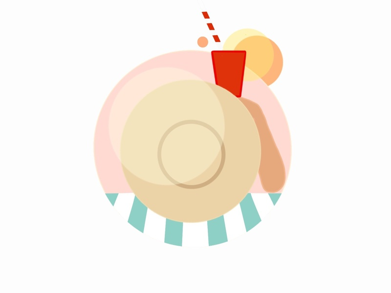 summer icon coctail drawing beach summer girl illustration