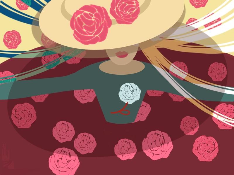 Rosy roses summer drawing girl illustration