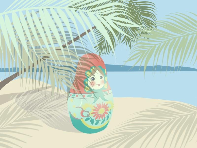 Matryoshka on the beach waving palms matryoshka design beach summer drawing gif illustration