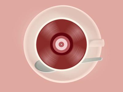 Coffeeplayer playing coffeecup vinyl record coffee design animation gif drawing illustration
