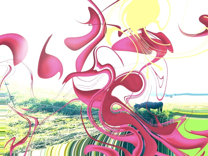 Psychedelic rain procreate digital cow colorful psychedelic rain design summer drawing illustration
