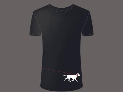 Walking the dog T mockup white black procreate digitalart walking dog tshirt design animation girl drawing illustration
