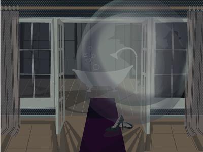 Bath bubble bath design drawing illustration