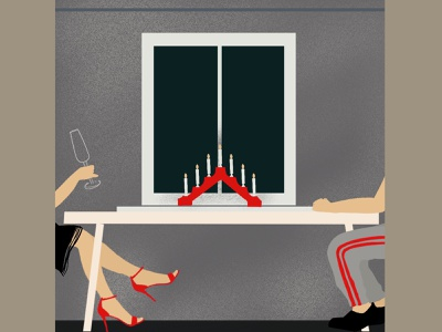 Candlelight dinner couple window drinking candlelight procreate design drawing illustration
