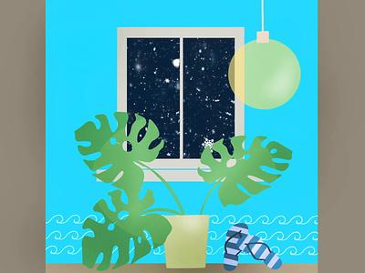 Holiday 2020 snowing snow palmtree palm holidays holiday window beach animation procreate design drawing illustration