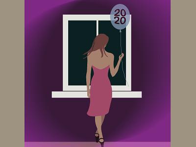 Goodbye 2020 2020 balloon goodbye window girl procreate design drawing illustration
