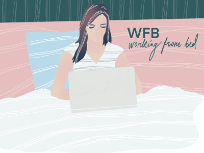 WFB working bed girl procreate design drawing illustration