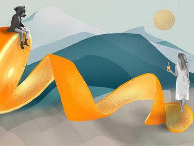 How to eat an orange spacebar bear orange girl procreate design drawing illustration
