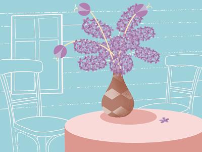 Time of lilacs vase stilllife lilacs procreate design drawing illustration