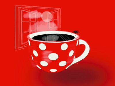 Saturday saturday window red fly tea coffee procreate design drawing illustration