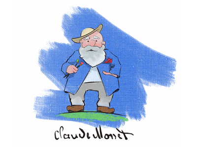 Claude Monet drawing character illustration
