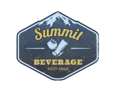 Summit Beverage Logo mountian blue illustration logo