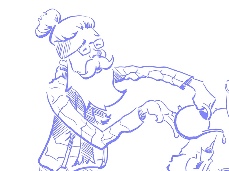 Hipster Tea man-bun beard tea sketch portrait character vector drawing