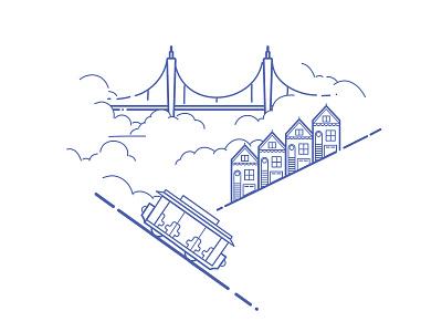 San Francisco clouds vector line art illustration houses trolley bridge