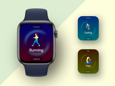 Workout app concept application workout product motiongraphics illustration animation aftereffects technology interaction ui user experience branding design applewatch watch face watchos