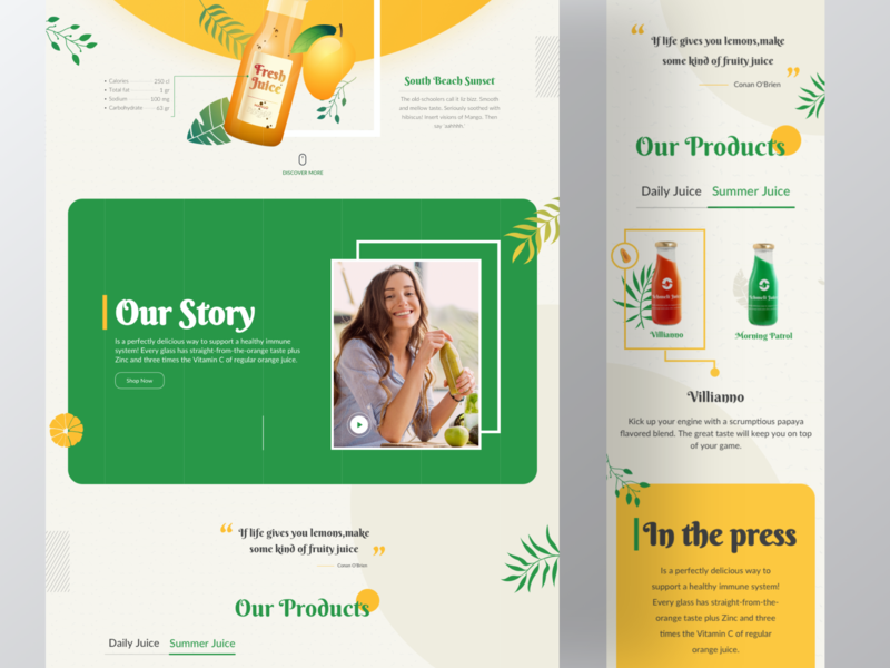 Ichemli typogaphy page ux creative vintage landingpage landing webdesign clean yellow mango drink juice cover website interface web design color ui