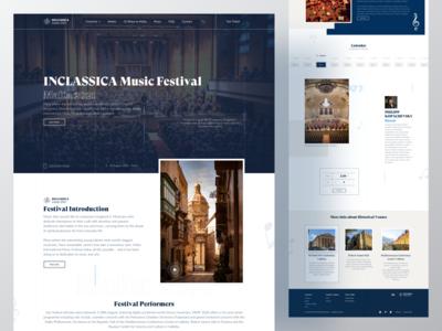 Inclassica website webdesign web ux uiux ui typogaphy classical music landingpage landing interface inspiration festival design concert color clean classic