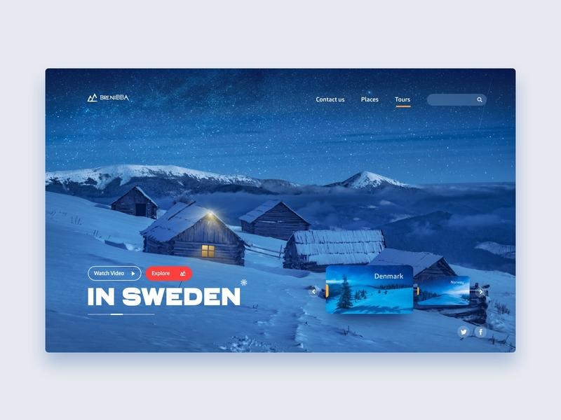 Brenibba xd adobe xd inspiration clean landing website app interface web ux design cover color ui