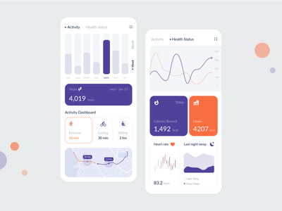 Health Track measure activity application calories chart dashboard design energy excercise fitness health icons ios map app mobile app mobile tab sleep tracker
