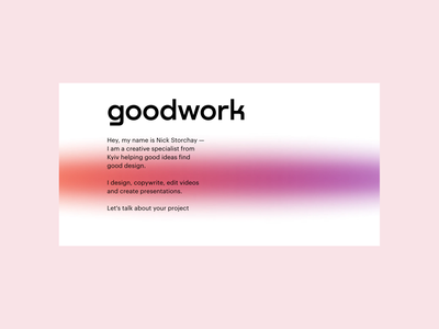 goodwork readymag landing ux ui landing page text colour gradient minimalist landing readymag