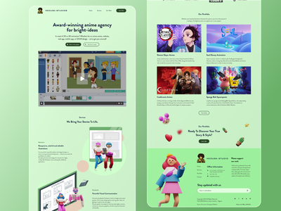 Animation Agency Landing Page glass morphism glass graphics home page anime story board website landing page 2d graphic design 3d motion graphics animation illustration branding ux app ui figma design