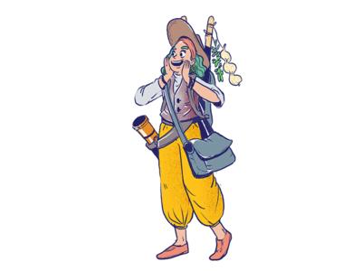 Merchant procreate character quest character design traveler buy sell merchant