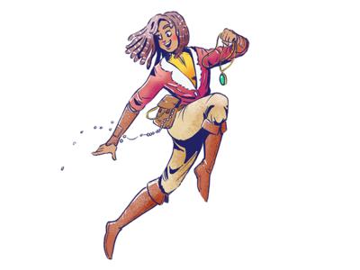 Treasure Hunter character quest character design procreate jump jewelry woman treasure hunter