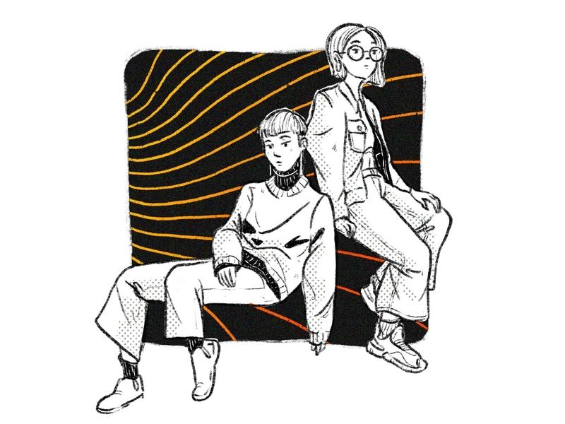 Dudettes simple sitting poses women procreate illustration