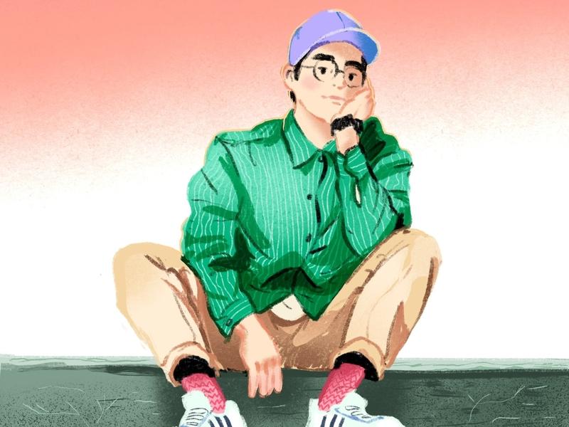 Sitting redraw digital illustration procreate illustration
