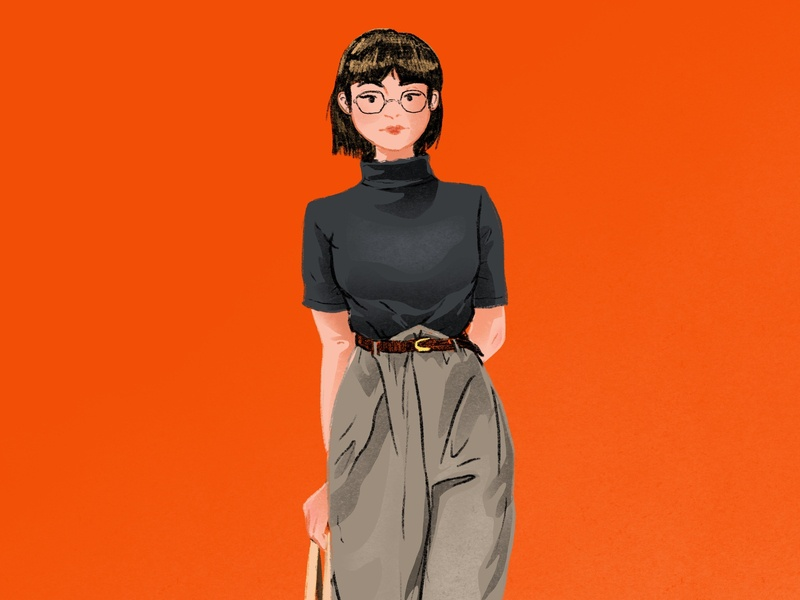 Stroll outfit woman digital illustration procreate illustration