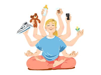 Multitasking-Martina meditation yoga mother yacht baby procreate illustration