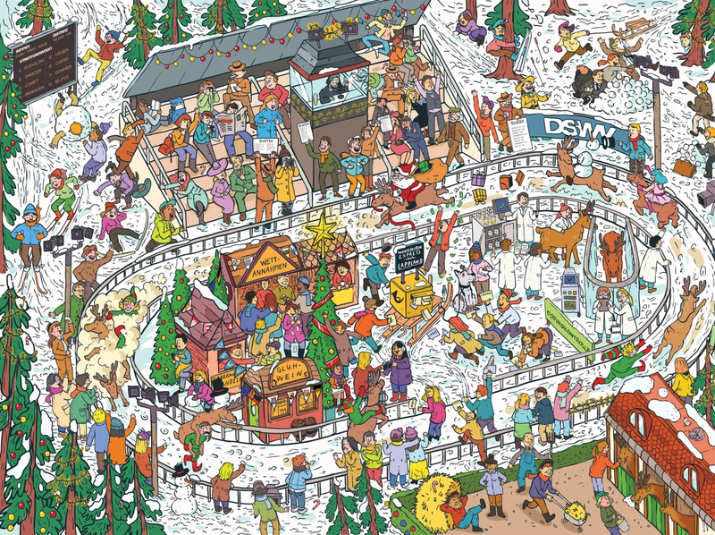 Reindeer racing illustration poster wimmelbild digital illustration race christmas reindeer