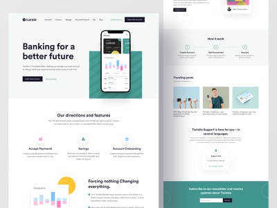 Digital Banking Landing Page online banking credit card financial bank app card payment money transection landing branding agency landing page mobile banking finance uiux clean digital banking fintech popular trend 2021