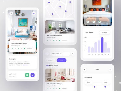 Real Estate App realestateinvestor househunting property nvestment architecture house rent mobile ui agency realestatemobileapp mobile app design product penthouse concept rental service branding clean ui ui uiux real estate realestateagent