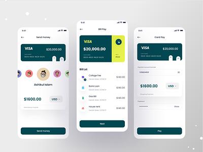 Finance Mobile Banking App mobile ui mobile app design app ux financial app finance fintech banking app finance app mobile design investment bank app send money money transfer concept clean ui uiux