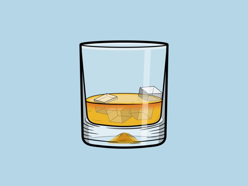 Whiskey beverage ice glassware glass alcoholic alcohol whisky whiskey drinking drink vector minimal illustration flat design