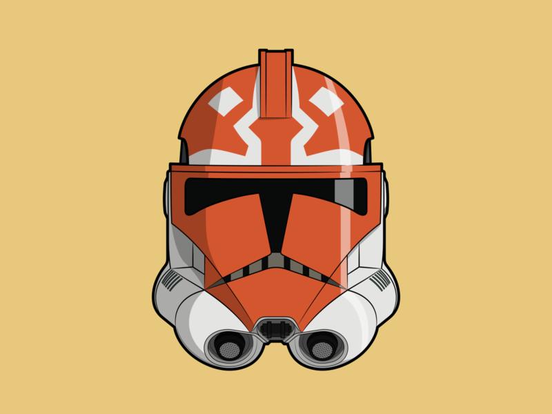 Clonetrooper - 332nd helmet design helmet 332nd clonetrooper ahsoka tano ahsoka clone trooper clone wars clones clone star wars starwars vector minimal illustration flat design