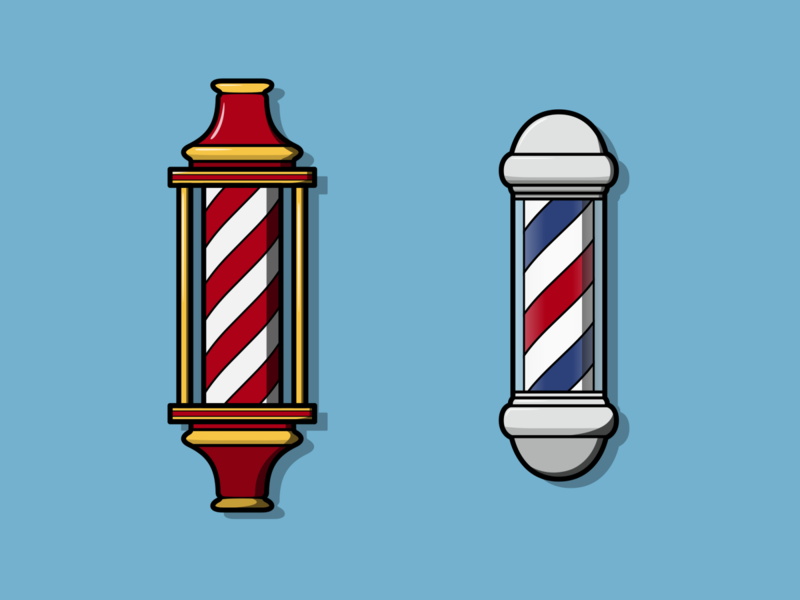 Barber Poles colorful colourful pole barber pole hairdresser hairstyle haircut hair barber shop barbershop barber branding logo vector minimal illustration flat design